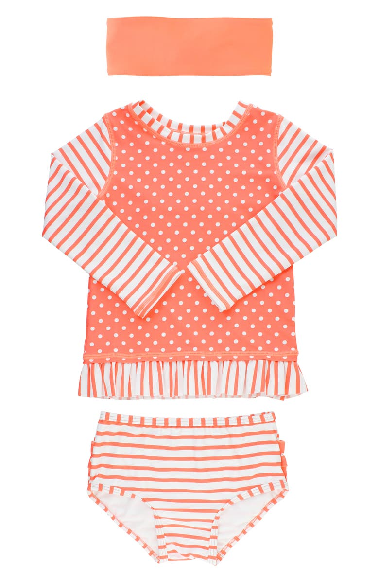 RUFFLEBUTTS Coral Two-Piece Rashguard Swimsuit & Head Wrap Set, Main, color, 950