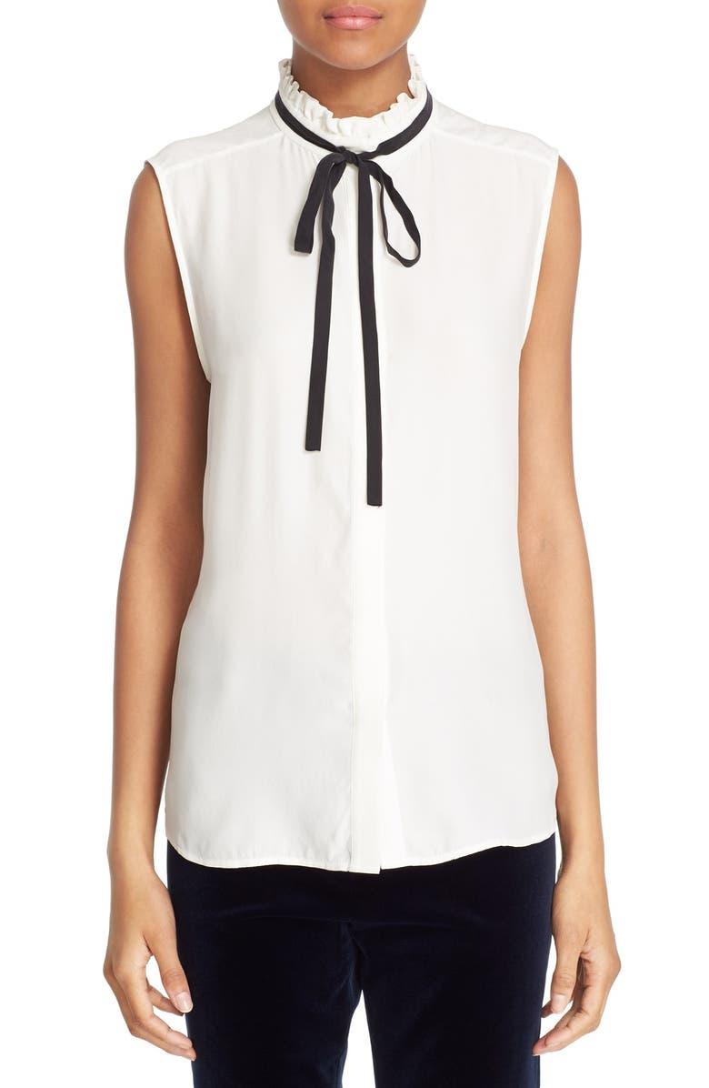 FRAME Sleeveless Ruffle Tie Neck Silk Blouse, Main, color, 100