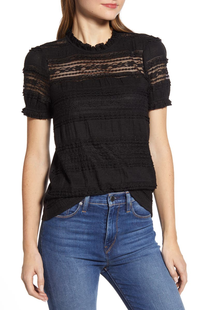 LUCKY BRAND Lace Puff Sleeve Top, Main, color, 001 LUCKY