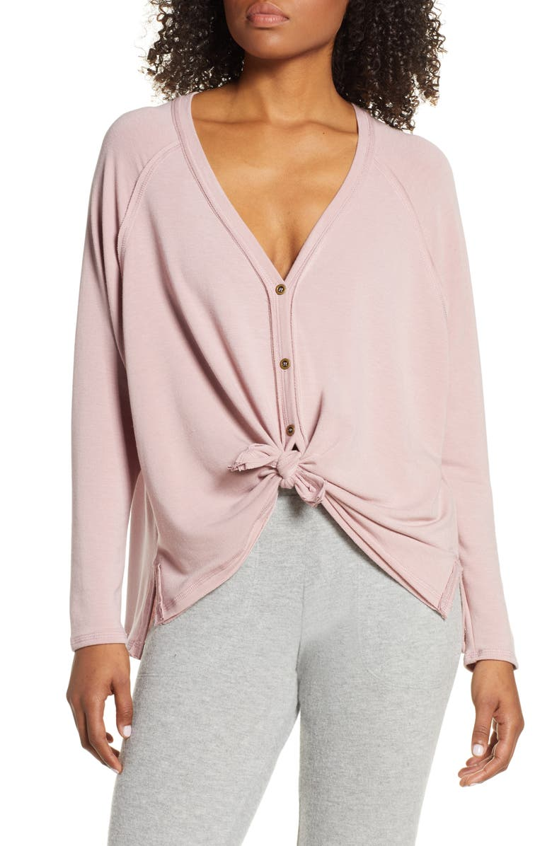 PROJECT SOCIAL T Keara Tie Front Cardigan, Main, color, PINK