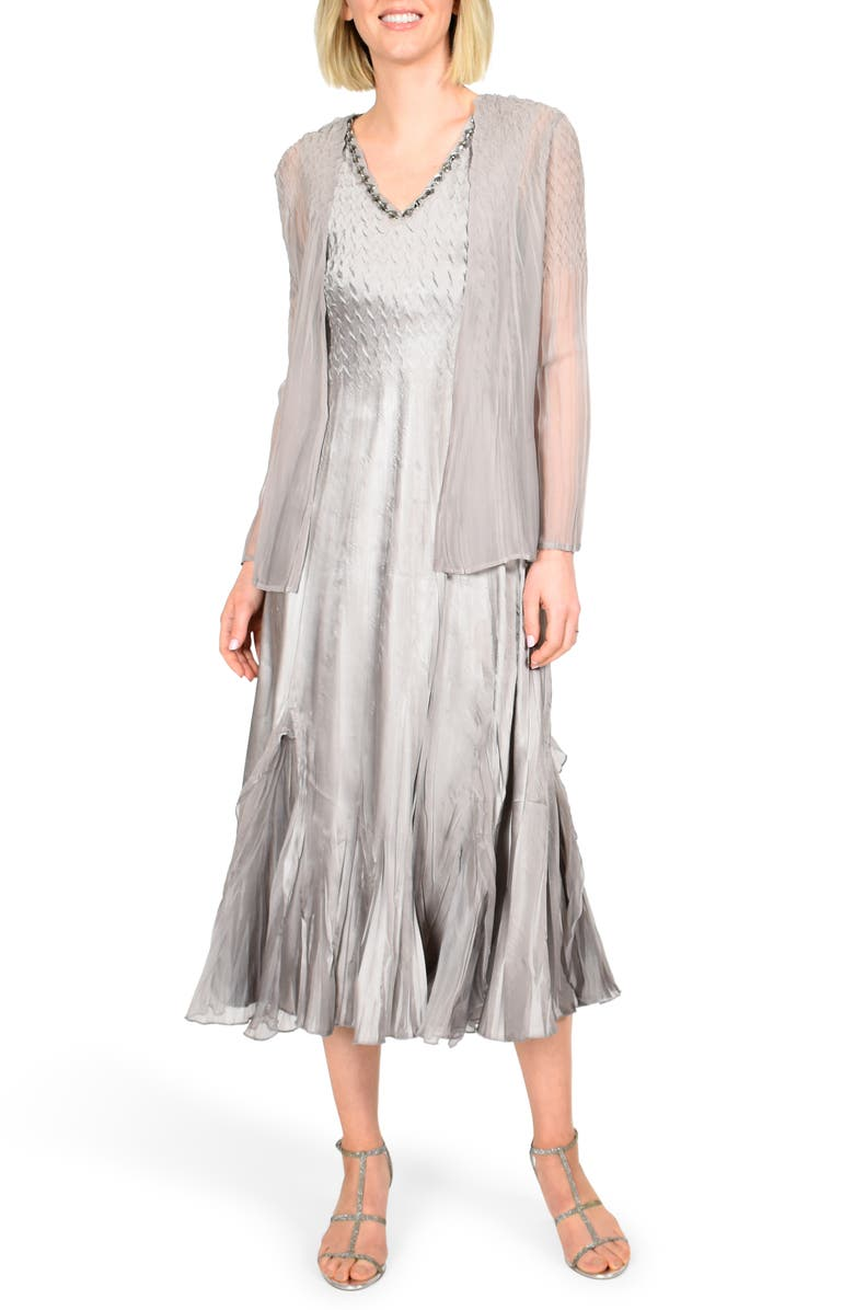 KOMAROV Floral Charmeuse & Chiffon Jacket Dress, Main, color, OYSTER SMOKE OMBRE