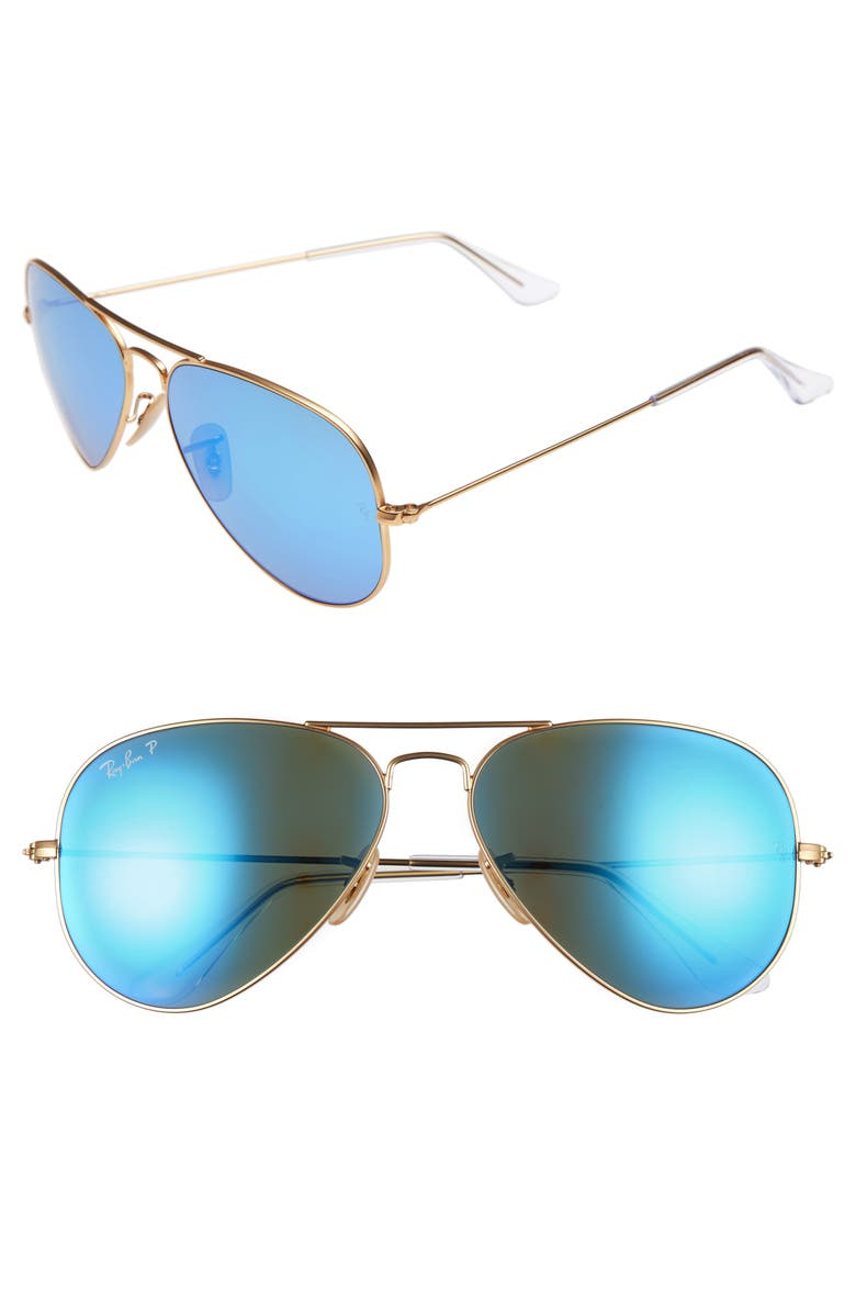 RAY-BAN 58mm Polarized Aviator Sunglasses, Main, color, MATTE GOLD/ BLUE MIRROR