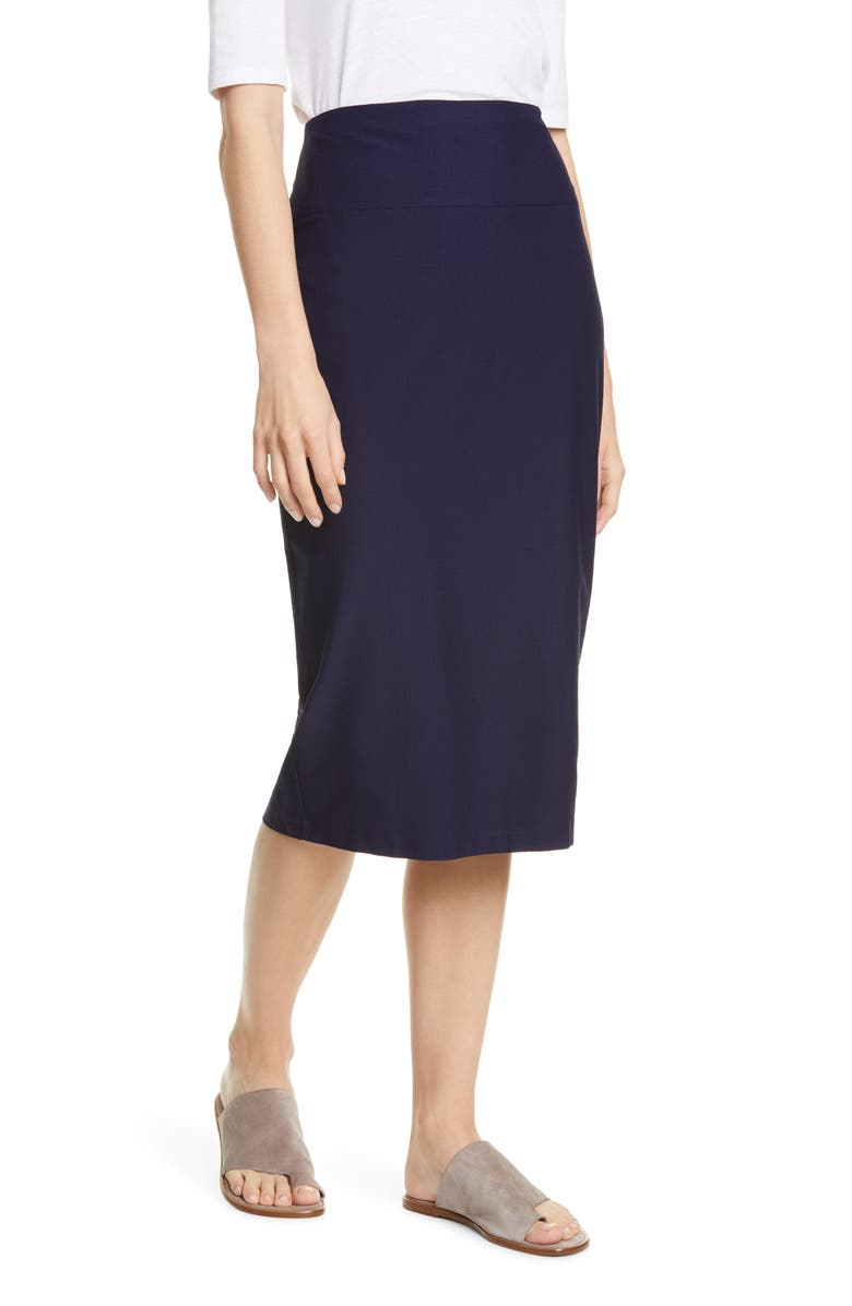 EILEEN FISHER Slim Knit Skirt, Main, color, MIDNIGHT