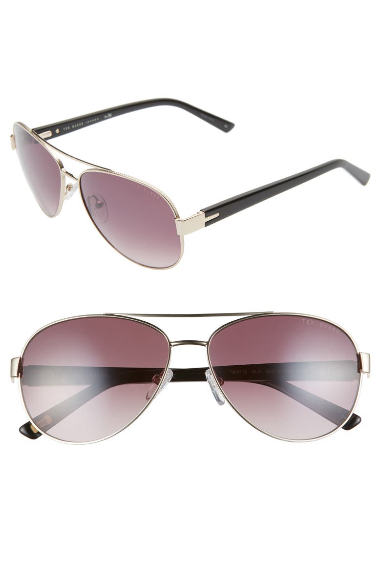 TED BAKER LONDON 58mm Gradient Aviator Sunglasses, Main, color, GOLD/ BLACK