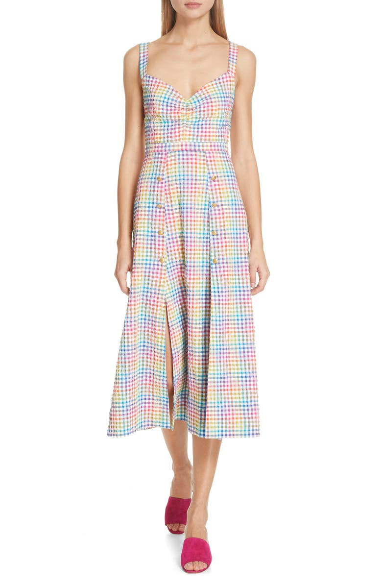 SALONI Anya Gingham Seersucker Midi Dress, Main, color, 100
