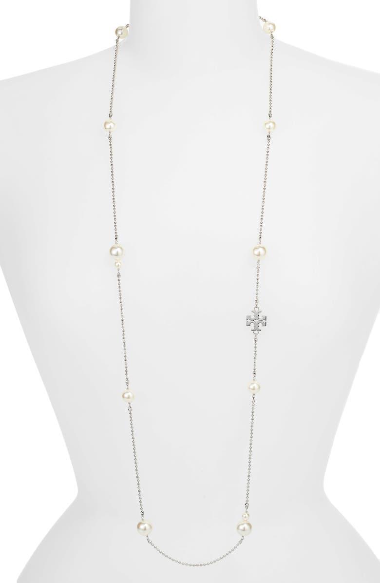 TORY BURCH Milgrain Imitation Pearl Rosary Necklace, Main, color, 040