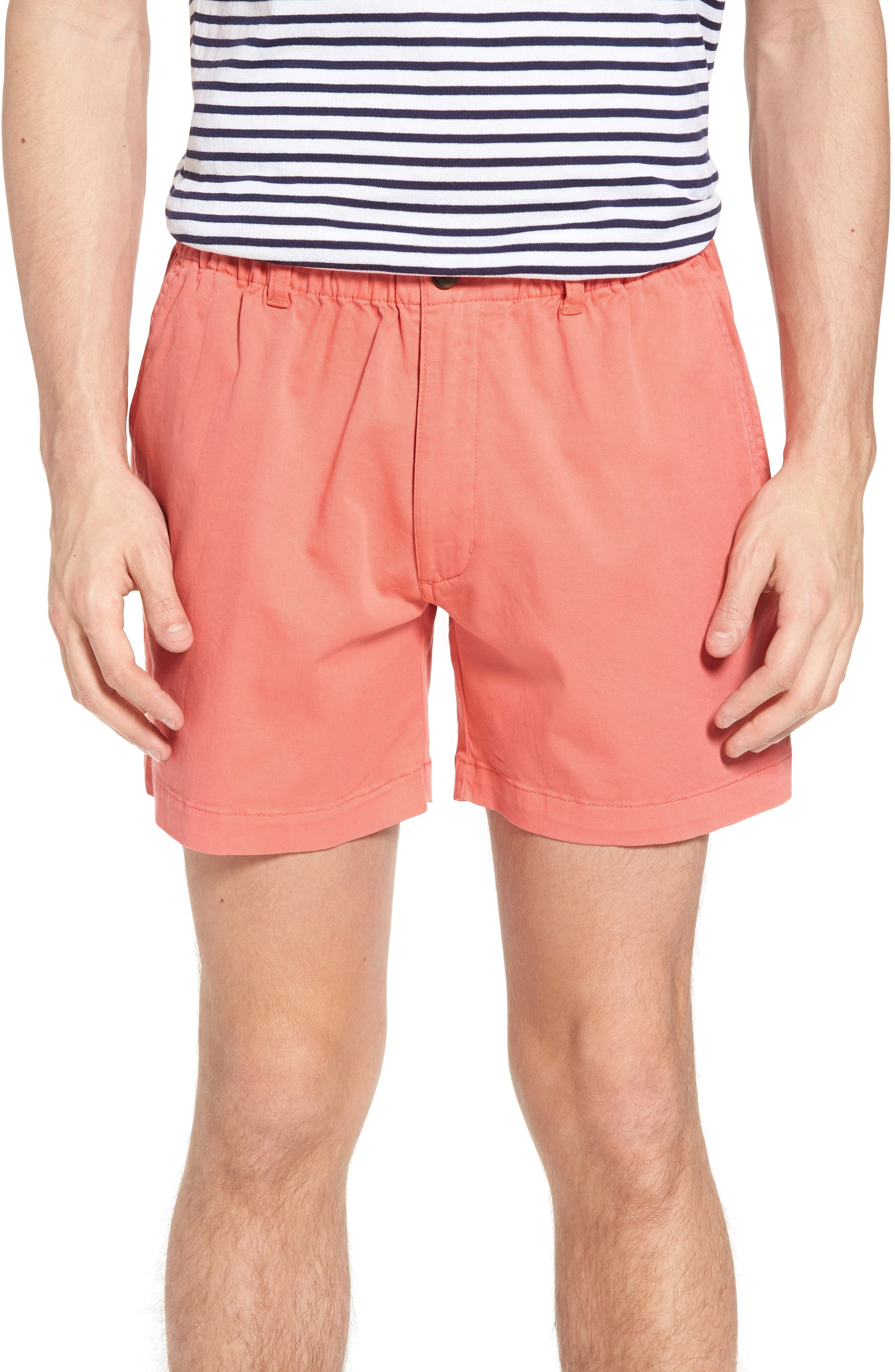 Vintage Men's Swimsuits – 1930s to 1970s History Mens Vintage 1946 Snappers Elastic Waist 5.5 Inch Stretch Shorts Size X-Large - Coral $55.00 AT vintagedancer.com