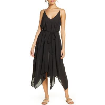 Elan Belted Cover-Up Slipdress, Black