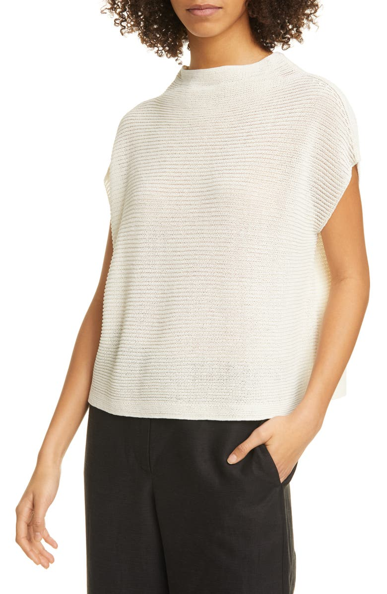 EILEEN FISHER Funnel Neck Organic Cotton Boxy Sweater, Main, color, 900