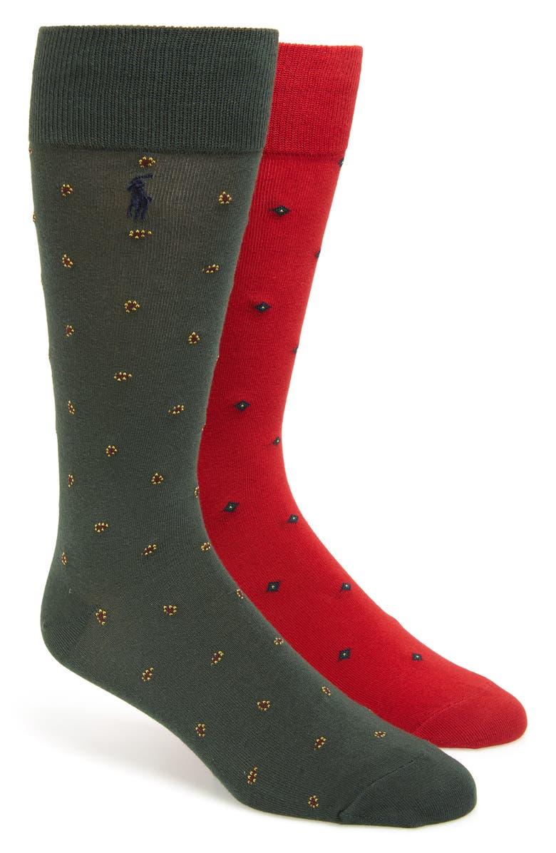 POLO RALPH LAUREN 2-Pack Foulard & Paisley Slack Socks, Main, color, RED