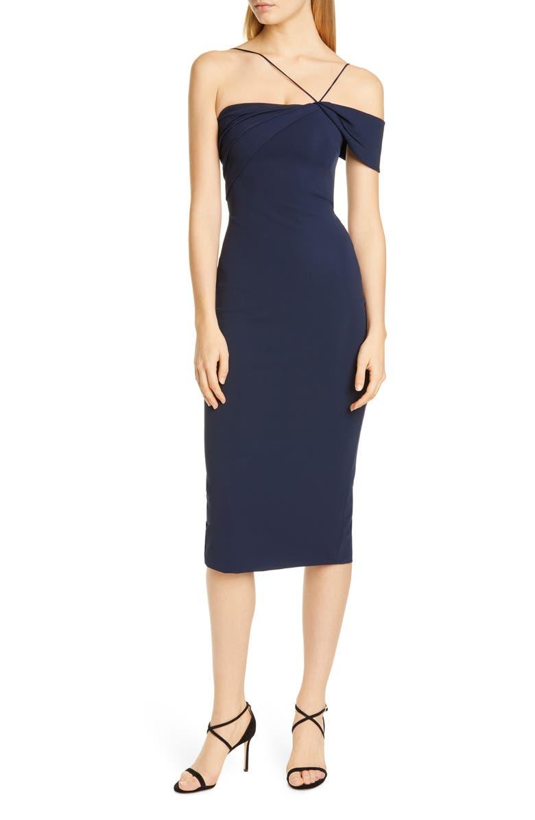 CUSHNIE Asymmetrical Pencil Dress, Main, color, NAVY