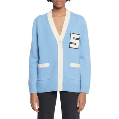 Sandro Amal Varsity Wool Cardigan Sweater, Blue