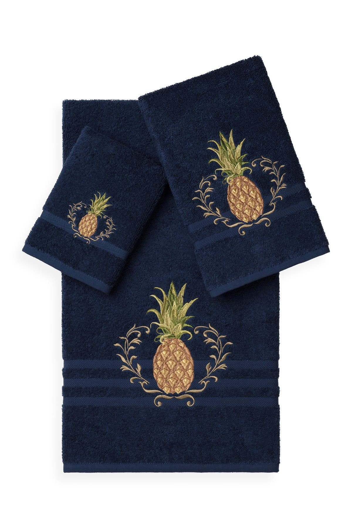 Image of LINUM TOWELS Welcome 3-Piece Embellished Towel Set - Midnight Blue