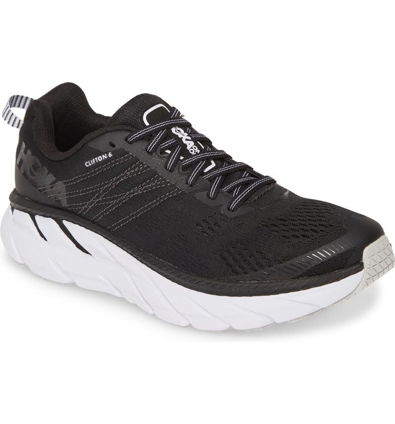HOKA ONE ONE Clifton 6 Running Shoe, Main, color, BLACK / WHITE