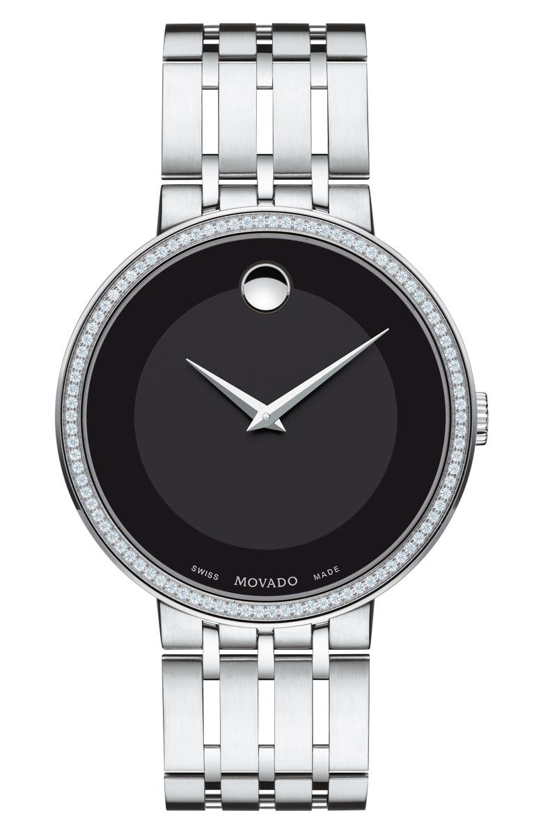 MOVADO Esperanza Diamond Bezel Bracelet Watch, 39mm, Main, color, SILVER/ BLACK/ SILVER