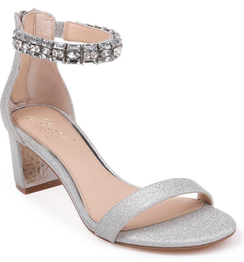 JEWEL BADGLEY MISCHKA Katerina Ankle Strap Sandal, Main, color, SILVER MICRO GLITTER