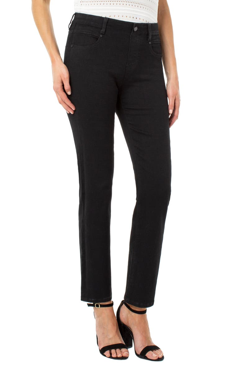 LIVERPOOL Gia Glider Pull-On Straight Leg Jeans, Main, color, BLACK