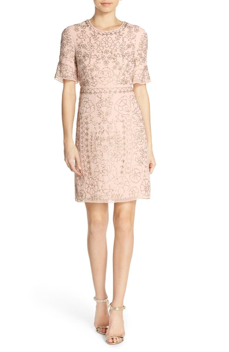NEEDLE & THREAD Beaded Georgette Sheath Dress, Main, color, 680
