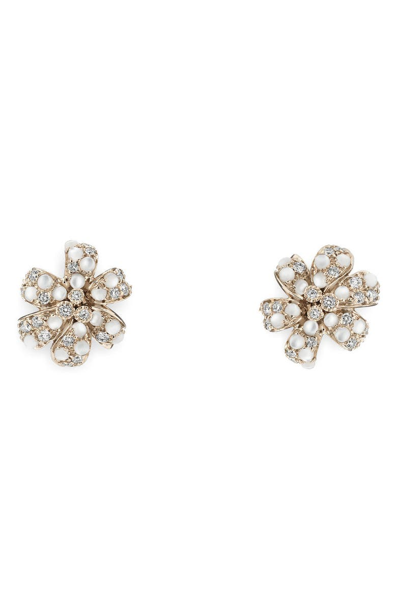 GUCCI Flora Diamond & Mother of Pearl Stud Earrings, Main, color, 711