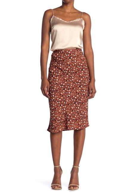 Image of Sanctuary Bias Cut Printed Satin Midi Skirt