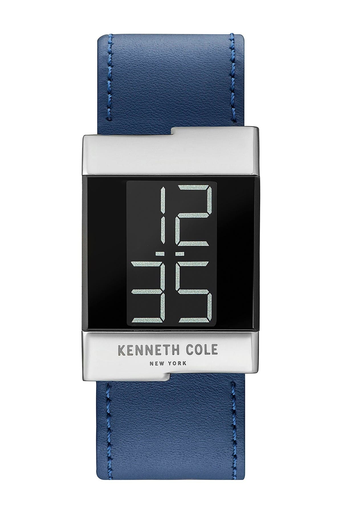 Image of Kenneth Cole New York Men's LCD Leather Strap Watch, 28mm