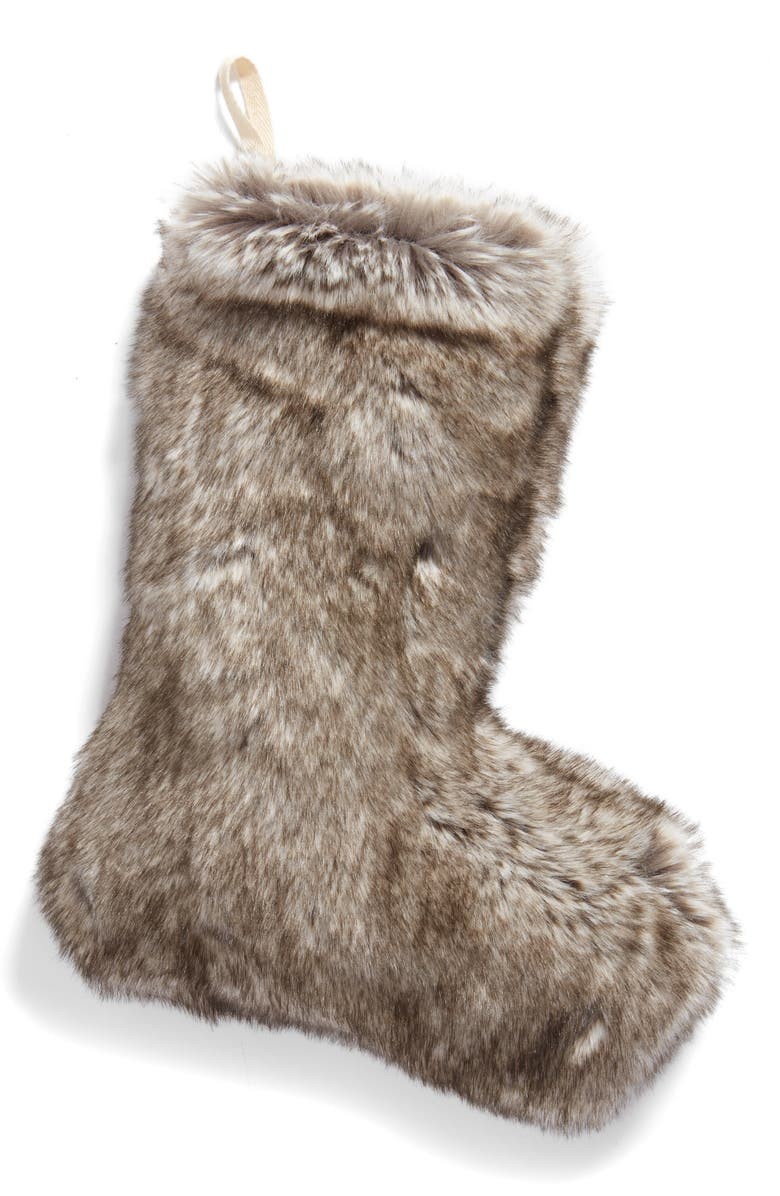 NORDSTROM at Home 'Cuddle Up' Faux Fur Christmas Stocking, Main, color, 022