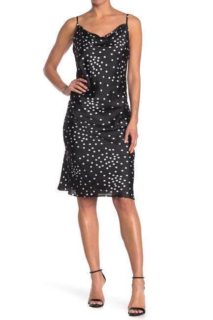 Image of bebe Polka Dot Satin Slip Dress
