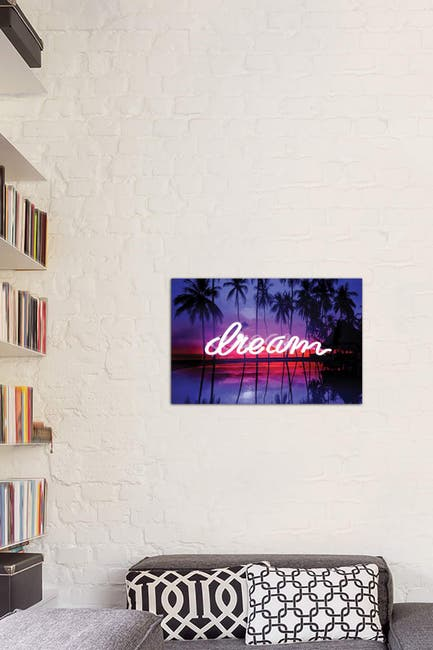 Image of iCanvas Neon Dream Beach Pink On Black by Hailey Carr
