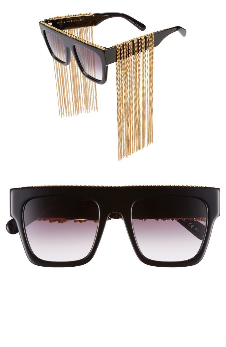 STELLA MCCARTNEY 51mm Chain Fringe Square Sunglasses, Main, color, BLACK/ GOLD