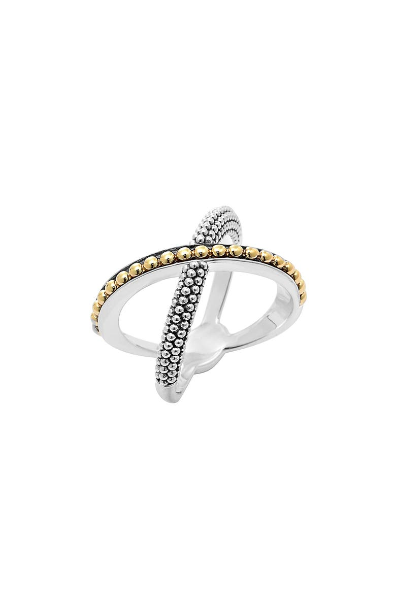 LAGOS 'Enso' Caviar Crossover Ring, Main, color, SILVER/ GOLD