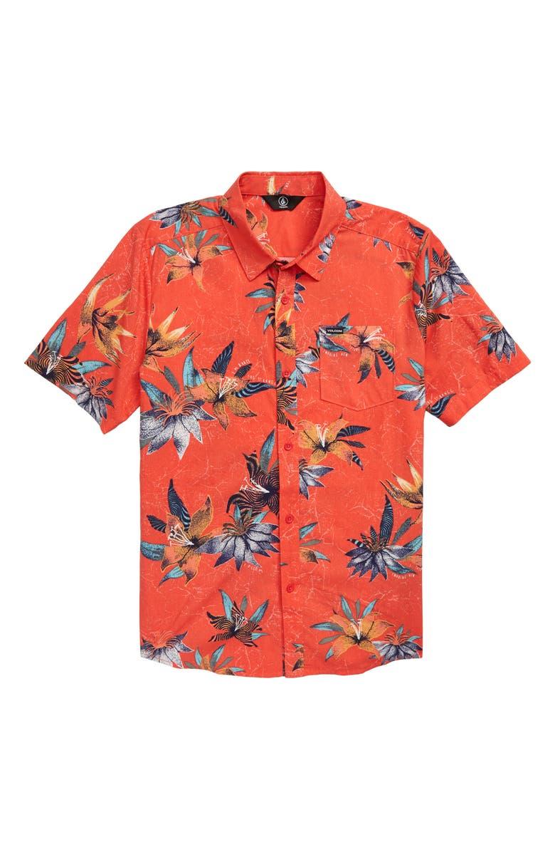 VOLCOM Verano Stone Woven Shirt, Main, color, CAYENNE