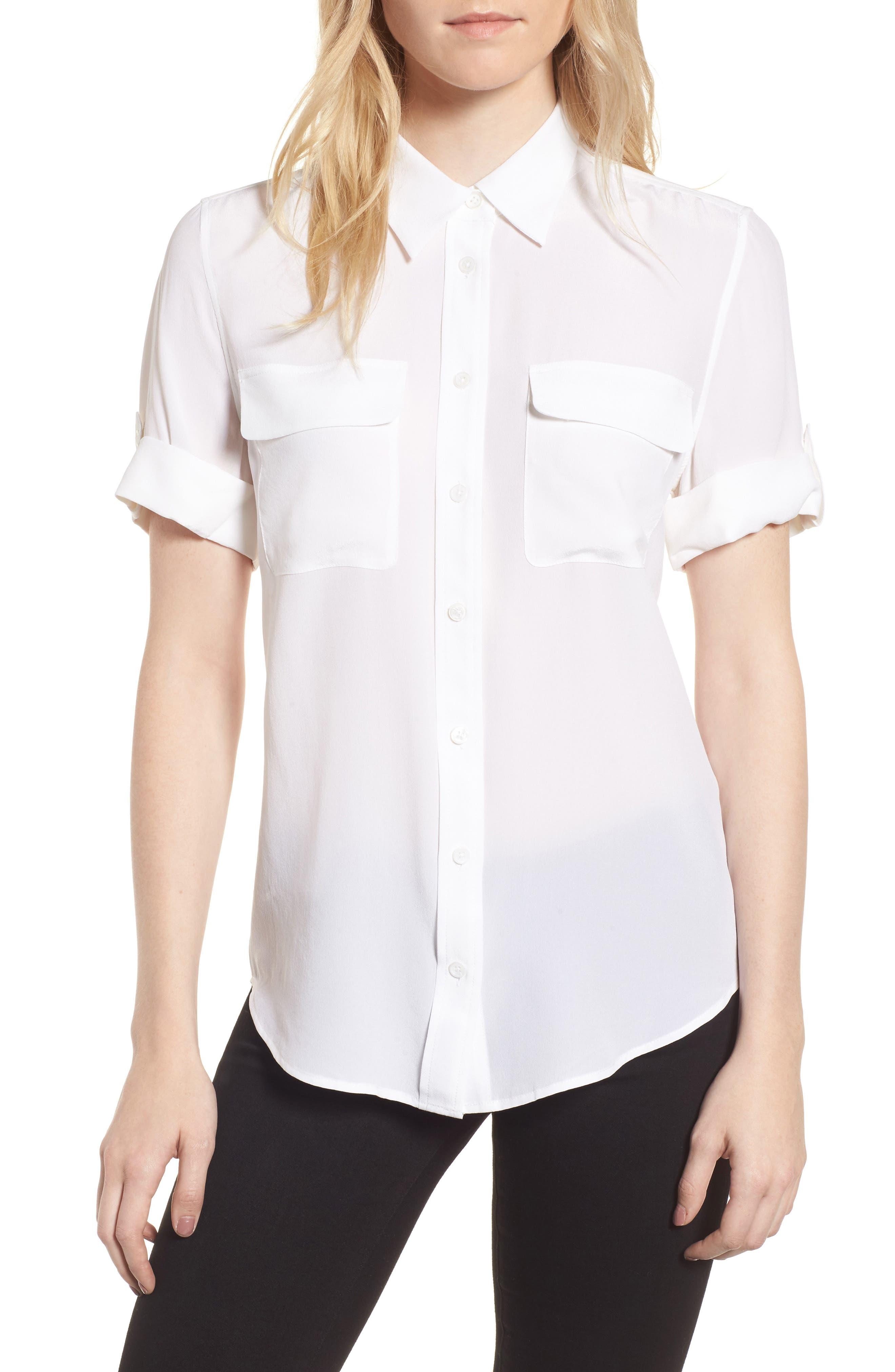 ,                             Slim Signature Short Sleeve Silk Shirt,                             Main thumbnail 1, color,                             BRIGHT WHITE