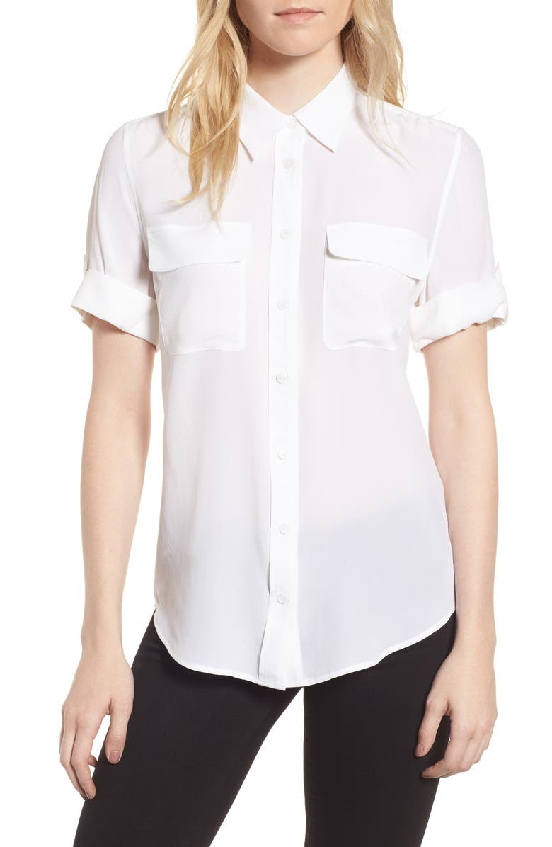 EQUIPMENT Slim Signature Short Sleeve Silk Shirt, Main, color, BRIGHT WHITE