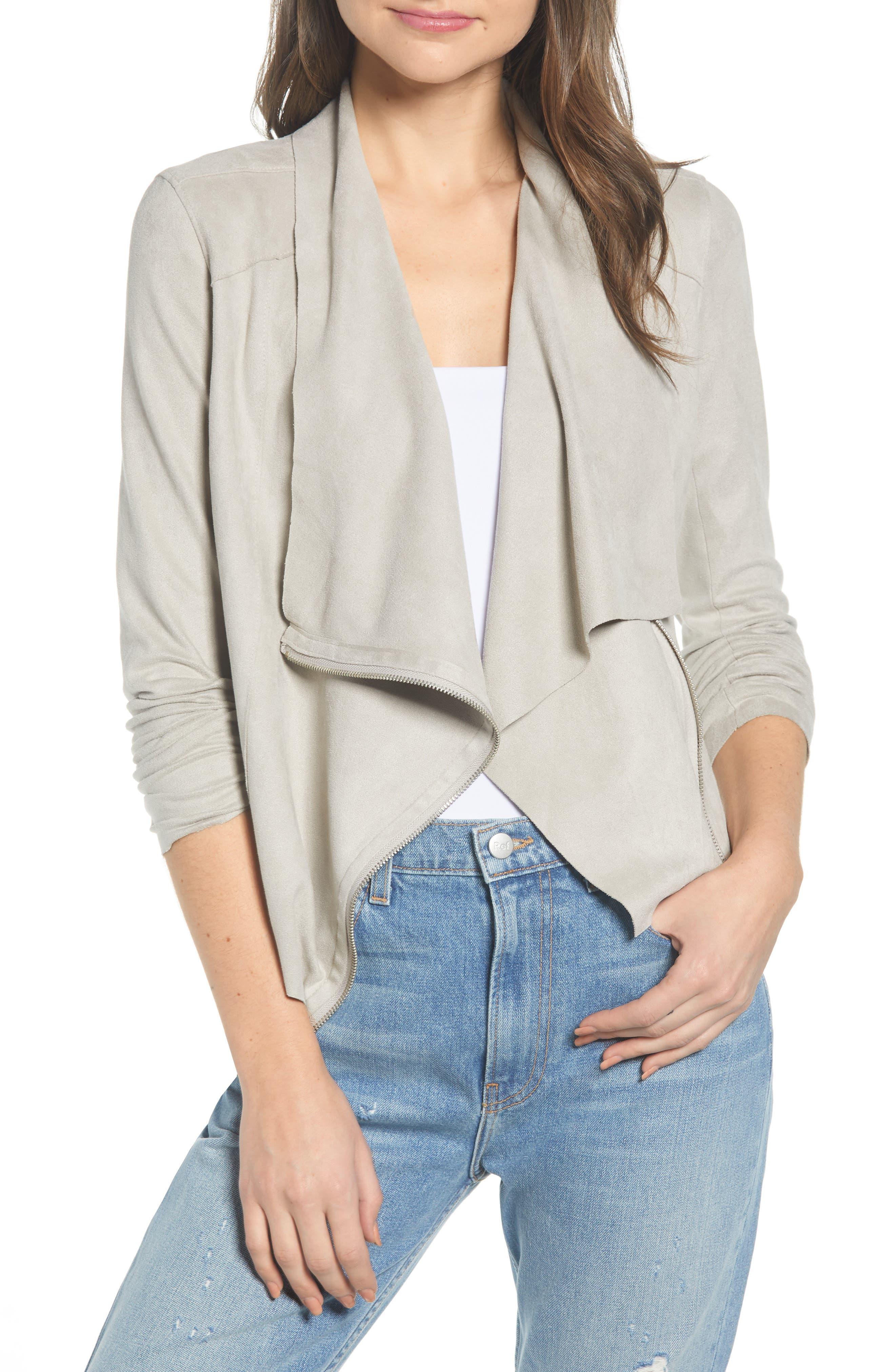 Women's Blanknyc Drape Front Faux Suede Jacket, Size Large - Grey