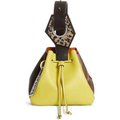 Ganni Small Drawstring Leather Bag - Yellow