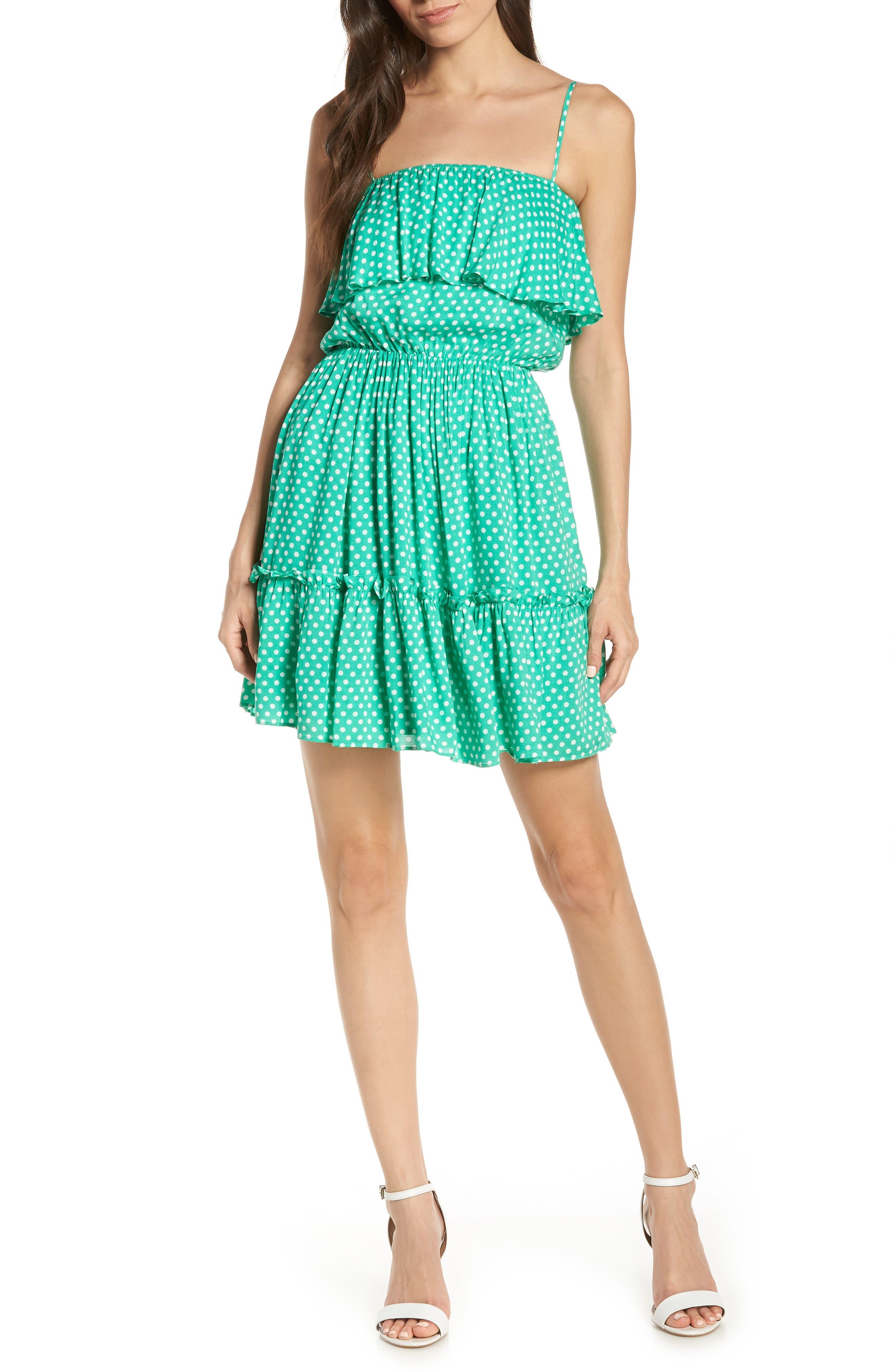 Bb Dakota Dot Off The Press Polka Dot Dress, Green