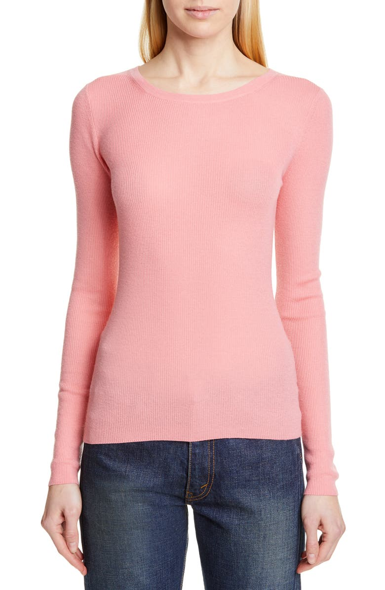 MICHAEL KORS COLLECTION Michael Kors Featherweight Cashmere Sweater, Main, color, PETAL