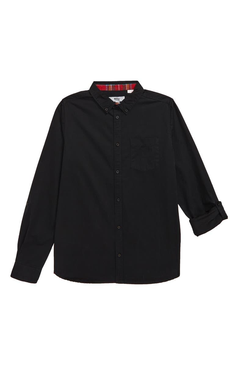 WESC Woven Shirt, Main, color, BLACK