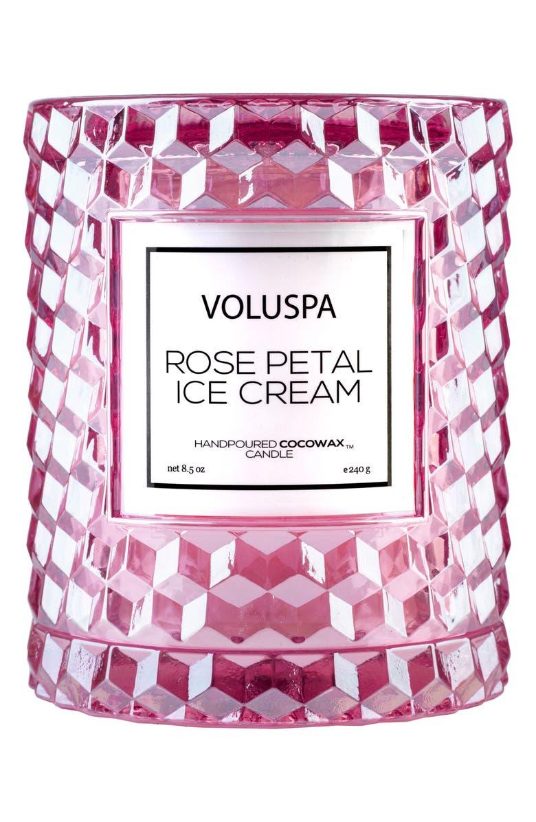 VOLUSPA Roses Icon Cloche Cover Candle, Main, color, ROSE PETAL ICE CREAM