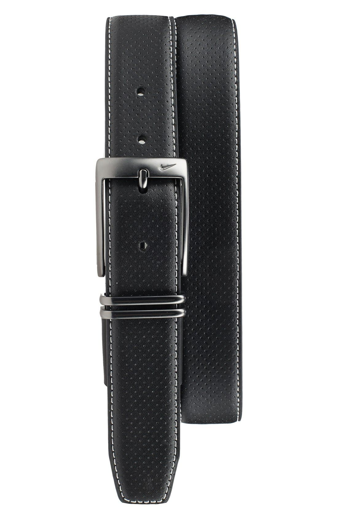 Nike Perforated Leather Belt, Black