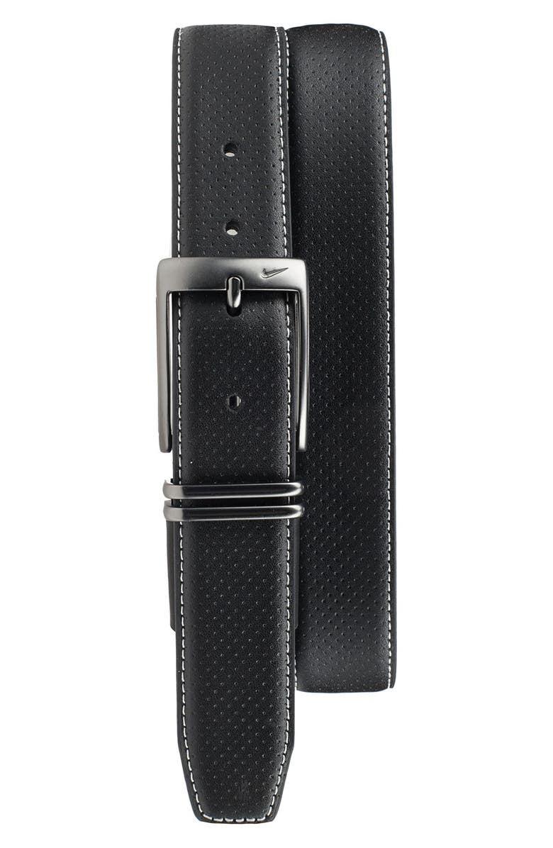 NIKE Perforated Leather Belt, Main, color, BLACK