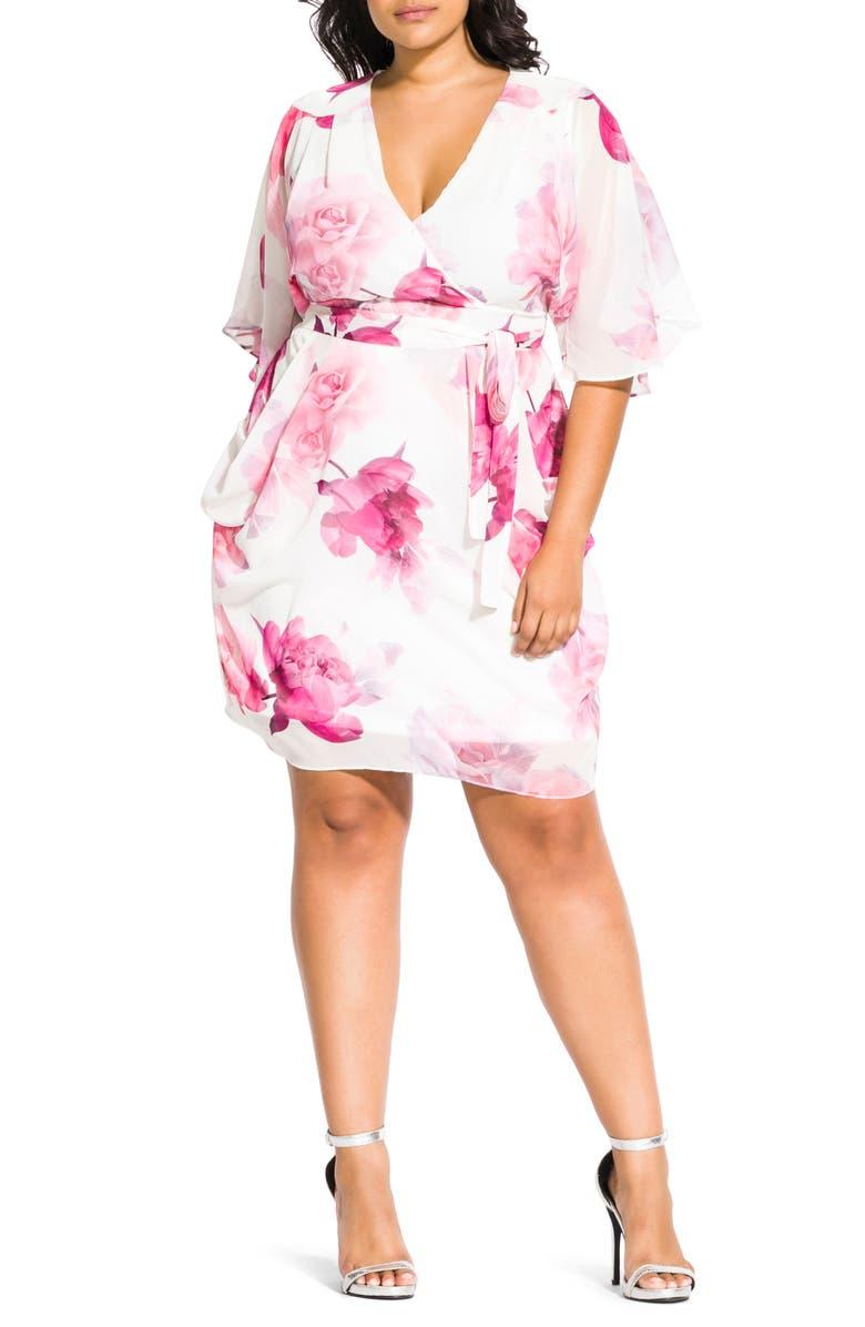 CITY CHIC Bella Rosa Wrap Front Dress, Main, color, BELLA ROSA