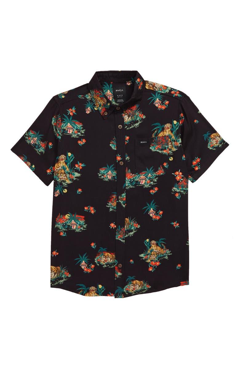 RVCA Grisancich II Tropical Button-Down Shirt, Main, color, BLACK