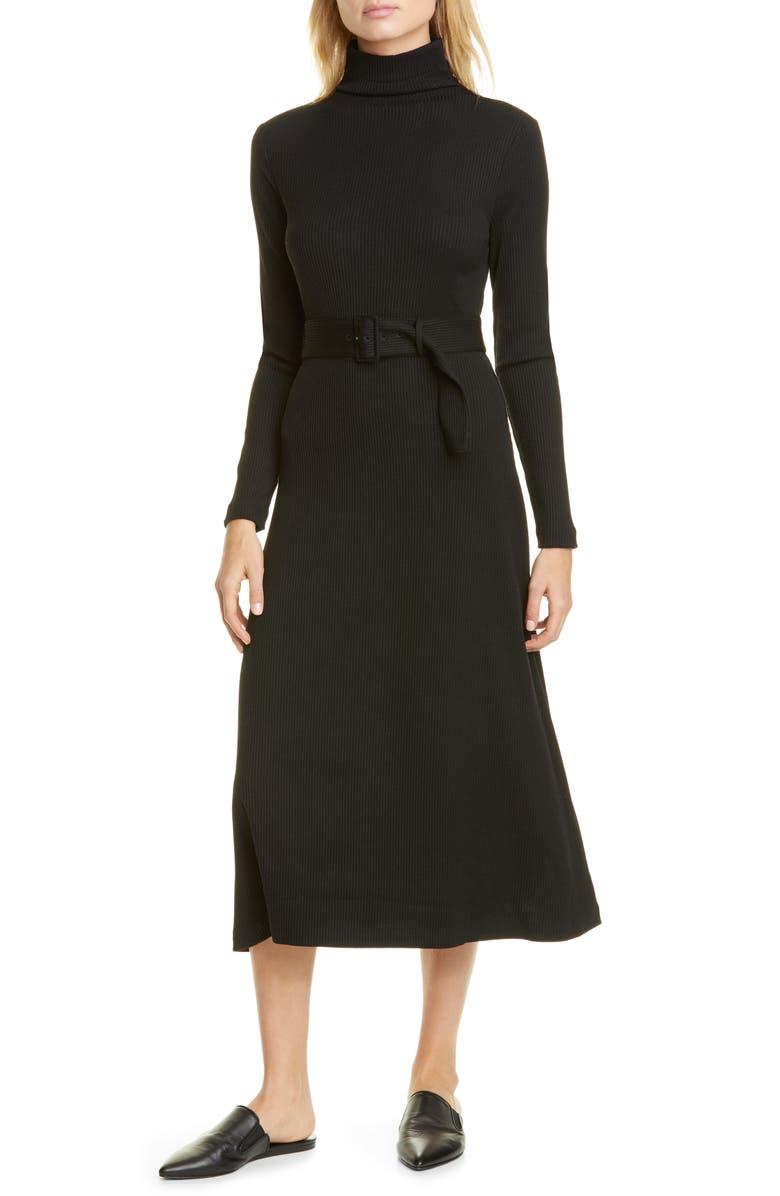 CLUB MONACO Melissah Knit Long Sleeve Midi Dress, Main, color, BLACK