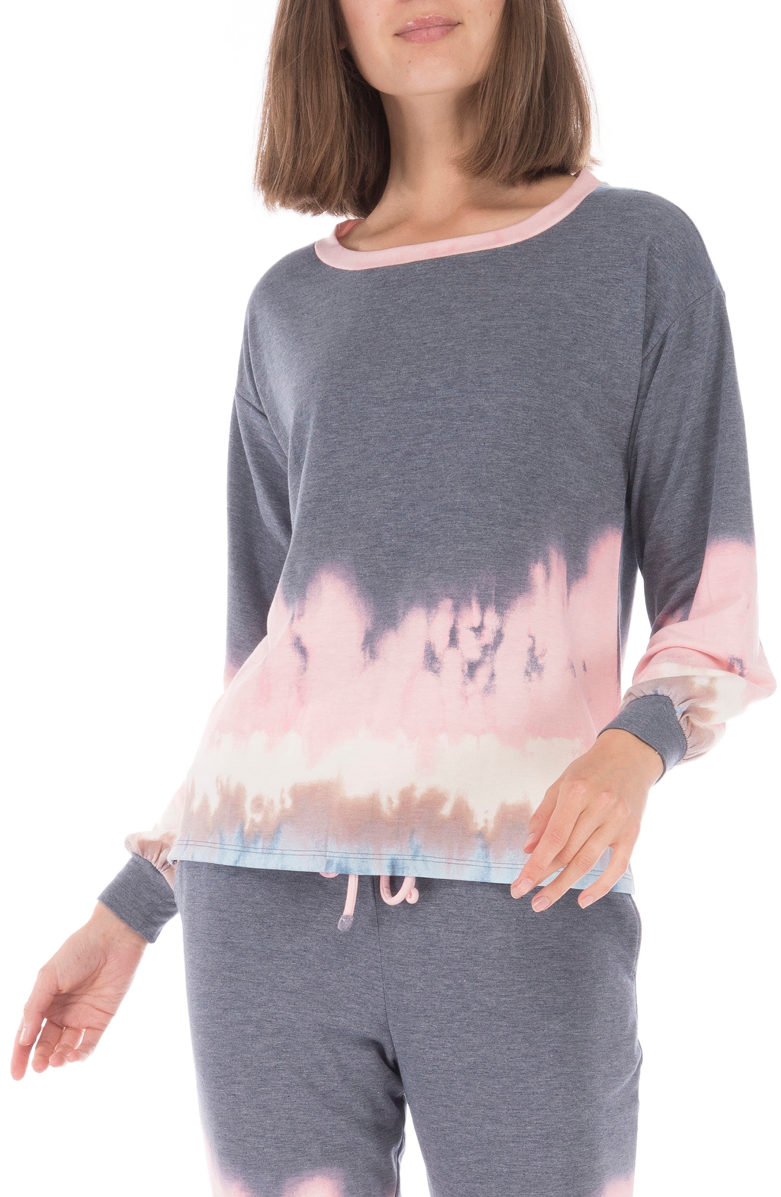 Eye-catching tie-dye lends on-trend style to a super-cozy pullover made in a slim fit from soft French terry. Style Name: Bobeau Emmanuel French Terry Pullover. Style Number: 6092579. Available in stores.