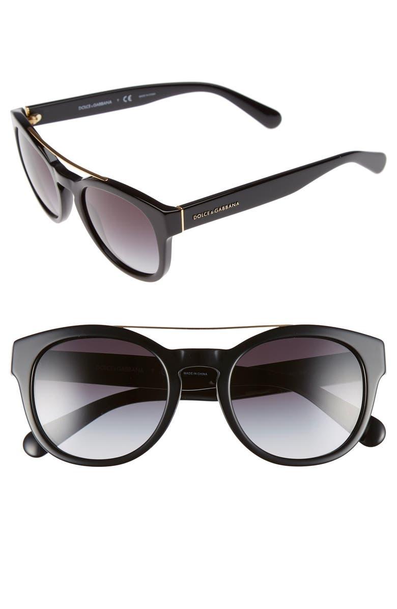DOLCE&GABBANA 50mm Sunglasses, Main, color, 001