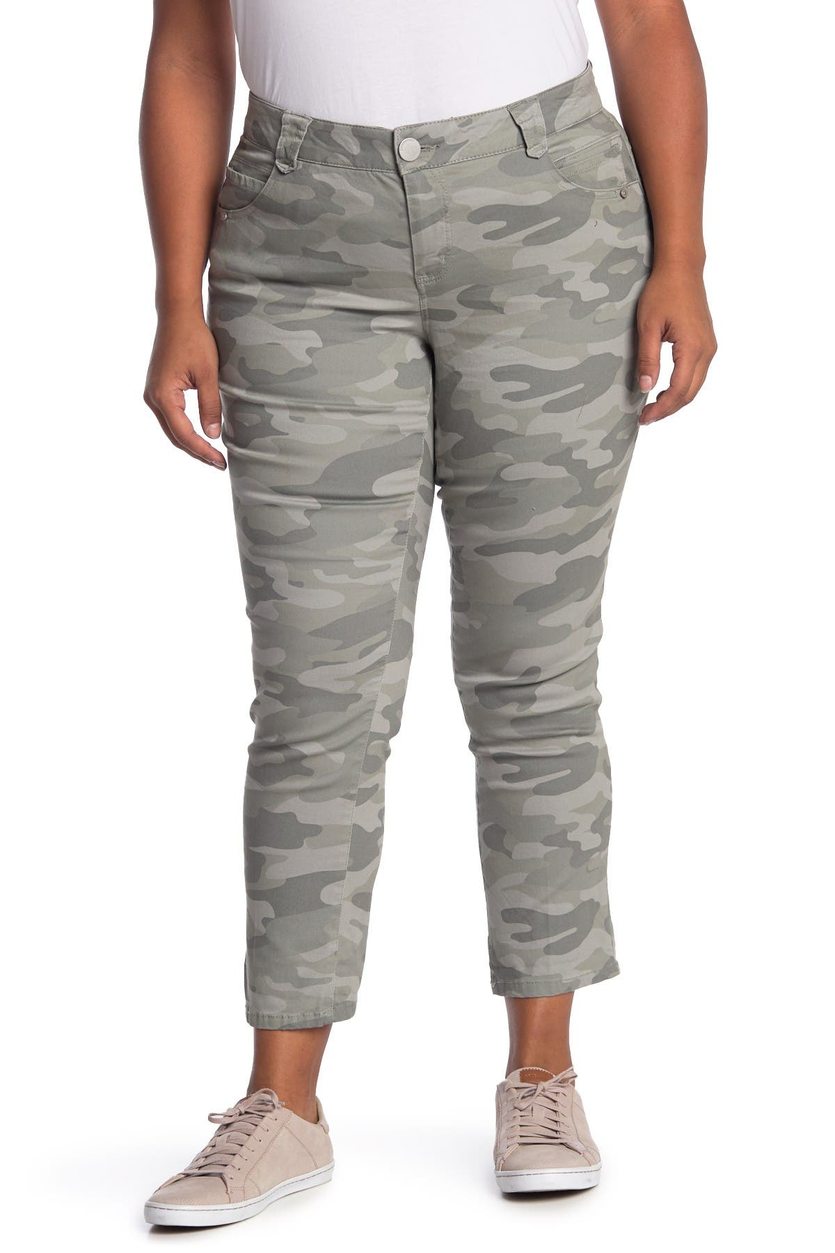 Image of Democracy AbSolution Camo Print Rolled Hem Skinny Jeans