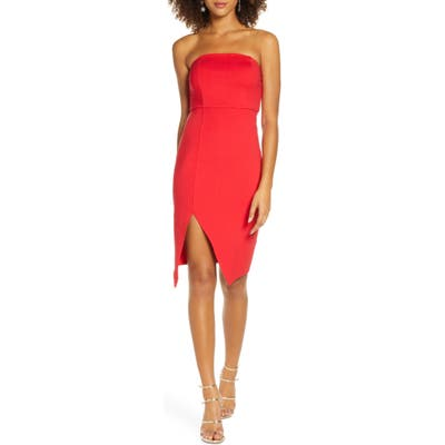 Lulus Strapless Cocktail Sheath Dress, Red