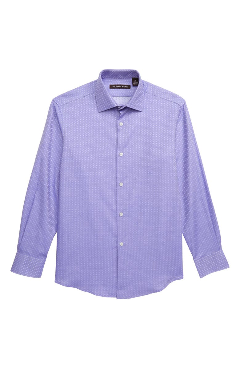 MICHAEL KORS Squares Dress Shirt, Main, color, PERIWINKLE