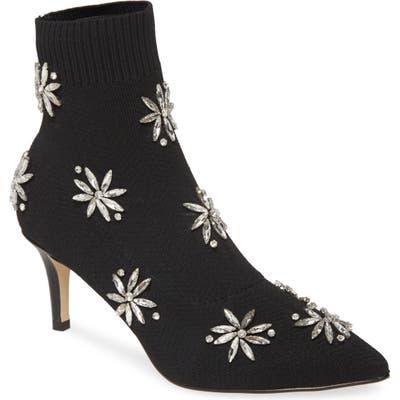 Allegra James Hayley Crystal Embellished Sock Bootie- Black